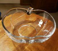 Vintage Glass Depression Etched Leaf Apple-Shaped Fruit Bowl Teacher's Gift