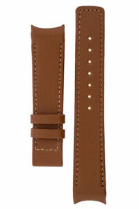 Hirsch OEM HEAVY CALF LEATHER CURVE ENDED DEPLOYMENT WATCH STRAP GOLD BROWN 22mm