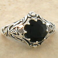 GENUINE MOONSTONE 925 STERLING SILVER ANTIQUE FILIGREE STYLE RING SIZE 7 #926