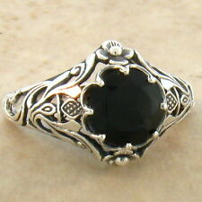 GENUINE BLACK AGATE ART NOUVEAU .925 STERLING ANTIQUE STYLE RING SIZE 10,   #761