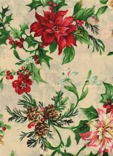 "Holiday Christmas Natural Poinsettia Fabric Table Cloth Oblong 52 x 70"" New"