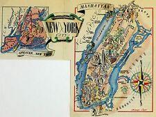 New York City Antique Vintage Pictorial Map  (Postcard size)