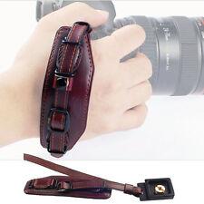 Genuine Leather Hand Wrist Strap+Quick Release Plate for Canon Nikon DSLR Camera