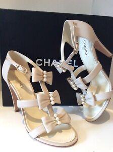 CHANEL Lambskin Pearl Embellished Bow Nude Heels Sz 38C