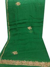 Om Vintage Dupatta Chiffon Hand Embroidered Green Stole Veil Scarves W-1731
