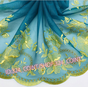 H297 1Yard Floral Tulle Lace Trim Ribbon Embroidery Flower Wedding Fabric Sewing