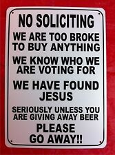 """No Soliciting Humor Novelty 10""""X14"""" Man Cave Polystyrene Beer Sign SB22"""
