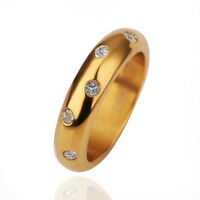Women's 18K Gold Plated Elements Crystal Wedding Engagement Band Ring Size 6-10