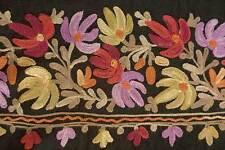 Black, Crewel Embroidered Kashmir Wool ndia Shawl Pashmina Style Moghul Design