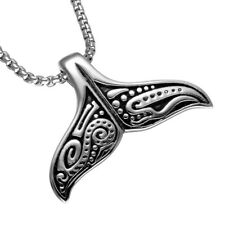 Whale Tail Fish Charm Pendant Necklace Punk Stainless Steel Mermaid Necklace