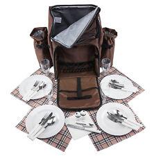 anndora Picknick Rucksack picnic bag wasserabweisend + Geschirr für 4 Personen