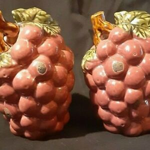Ceramic Red Grapes Table Decor Set of 2