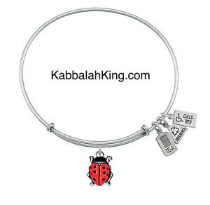 Wind & Fire 3D Ladybug Red Charm Silver Wire Stackable Bangle Bracelet Made USA