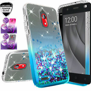 For Alcatel Insight / TCL A1 AD501DL Glitter Cute Bling Case with Tempered Glass