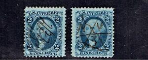 1862-71 Revenue First Issue Washington 2c Bank Check Lot of 2 Sc#R5  Pen Cancel^