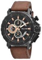 Elite Herrenuhr Schwarz Braun Chronograph Datum Analog Kunst-Leder X2900196002
