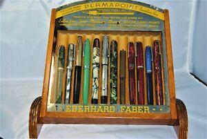 Vintage 12 pen Eberhard Faber ink pen display case -Selling the CASE ONLY!
