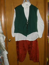 Adult Pirate Halloween Costume Museum Replicas Vest Shirt Pants Stockings 5Pc #D