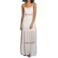 Abercrombie & Fitch Ivory Crochet Trim Womens Maxi Dress Size Small