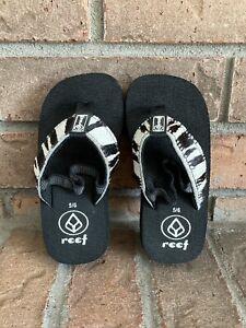 REEF Toddler Girls Size 5/6 ~ ZEBRA PRINT Flip Flops Sandals Heel Strap Black