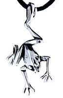 Nr 4: Frosch Frog im Sprung Anhänger 925 Sterling Silber mit Band Kettenanhänger