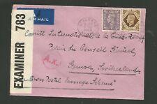 GREAT BRITAIN 1943 CENSORED COVER TO INTERNATIONAL RED CROSS IN GENEVA