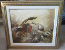"Rare Vintage Julio Carballosa  painting Cuban Artist ""Pelea de Gallos"" 20""x24"""