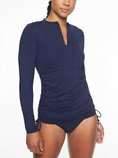 Athleta Dress Blue Ruched Rashguard Swim Surf Top Shirt NWT! XL Xtra-Large