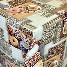 Mantel Hule por Metro Granos de Café Donuts K183A Ovalado Rectangular Redondo