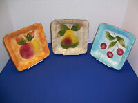 "Tabletops Unlimited Gisella Fruit 3 Salad Dessert Plates (7.5"" Apple Pear Cherry"