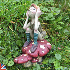 Garden Pixie Sat on Mushroom Fairy Ornament Sculpture Goblin Fairy Outdoor 39101