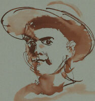 Ronald Olley (b.1923) - 20th Century Pen and Ink Drawing, Man In a Hat