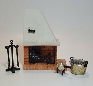 Vintage 1970s Fireplace Logs Poker Shovel Water Pot Lundby Dollhouse Miniature