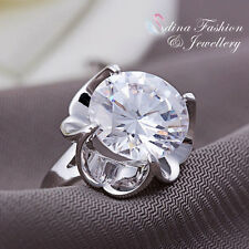 18K White Gold GP Simulated Diamond Sparkling 6.50 ct Engagement Adjustable Ring