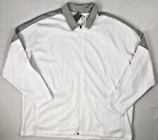 $65 NEW adidas Mens TI Soft Fleece Top Q4 White Gray Full Zip 2 Pockets SIZE 2XL