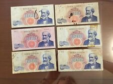 LOTTO 6 BANCONOTE LIRE 1000 VERDI I TIPO anni 1962 1964 1965 numismatica SABAUDA
