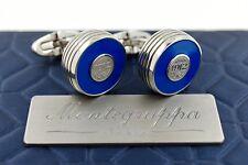 Montegrappa Piacere Stainless Steel & Blue Resin Inlay Gunmetal Emblem Cufflinks