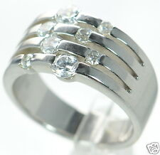 Solid 925 Sterling Silver Multi-row Scattered Clear CZ Band Ring Size-10 '