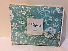 "JC Penney Home Valance Floral Aqua Blue White Country  ~ 18"" x 60"