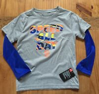 NWT Under Armour Royal Blue Gray Layered Long Sleeve Shirt Size 5 SPEED ALL DAY