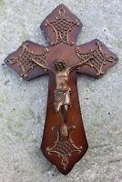 Mid Century Brass Ornate on Wood Wall Crucifix Cross Jesus Christ
