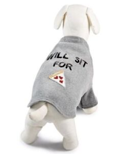 "Bow&Drape Large Dog Shirt Costume Sweatshirt Gray Sequins ""Will Sit For Pizza"""