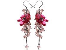 Petite Clear Pink Cluster of Baubles Beaded Flower Fashion Dangle Earrings
