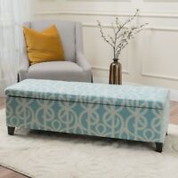 Clor Modern Upholstered Fabric Storage Ottoman Bench with Tapered Legs