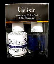 Gelixir Soak Off Gel Polish Oxford Blue 087 LED/UV .5oz Matching Gel Duo