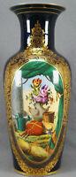 """Old Paris Porcelain 19th Century Hand Painted Cobalt & Gold 14"""" Vase Irish Scene"""