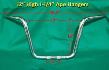 "12"" BEEFY Chrome Ape Hanger Motorcycle Handle Bar Harley Davidson Road King FLHR"