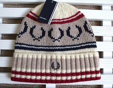 FRED PERRY Oatmeal Marl Classic 80's WOOL Beanie Hat Toque Hat OSFA UNISEX TAGS