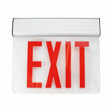 Navilite Nnyxes1raa Ny Edge Lit Led Exit Sign Red Letters Clear Glass Emergency