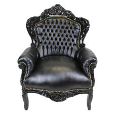 ARMCHAIR BAROQUE STYLE BLACK / BLACK FAUX LEATHER  # F30MB140